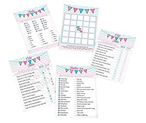 """Lillian Rose Pink & Blue Baby Gender Reveal Baby Shower 5"""" x 7"""" Game Cards"""