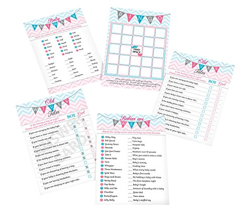 Lillian Rose Baby Gender Reveal Shower Game Cards, Pink/Blue/White, 5″ x 7″