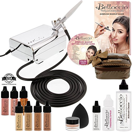 Belloccio Professional Beauty Airbrush Cosmetic Makeup System with 4 Tan Shades of Foundation in 1/4 Ounce Bottles – Kit Includes Blush, Bronzer and Highlighter and 3 Bonus Items and a Video