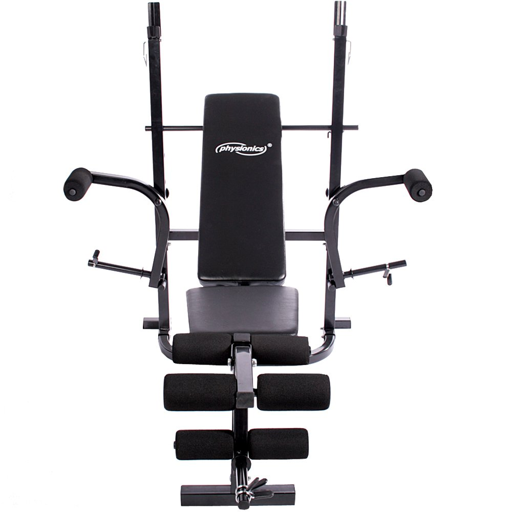 Banc de Musculation avec Repose Barres 2 Halt/ères Courts 30 kg Physionics Halt/ère Long 60 kg