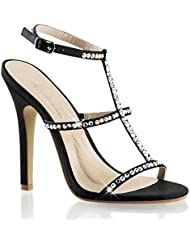Summitfashions Womens Black Satin Dress Shoes with 4.5 Inch High Heels and Rhinestone T-Strap