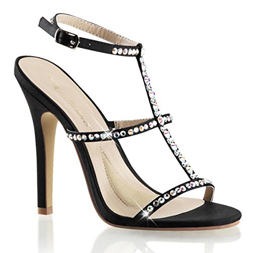 Womens Black Satin Dress Shoes with 4.5 Inch High Heels and Rhinestone T-Strap Size: 6