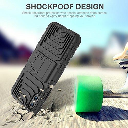 Caso iPhone X, Vigeer [Antideslizante] [Soft TPU Interior] [Durable PC Exterior] Funda resistente al choque, de doble capa resistente a golpes para iPhone X (Negro) Negro
