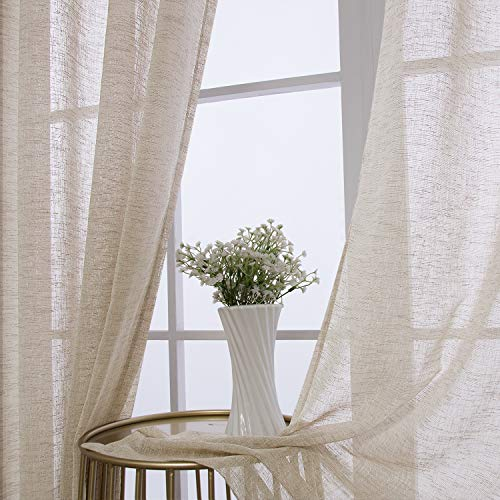 BONZER Burlap Linen Sheer Curtains for Living Room