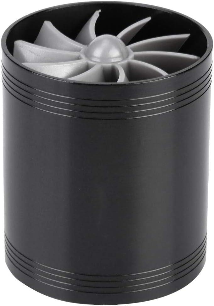 Senyar Car Air Intake Turbonator,Universal Aluminum Alloy Turbonator Dual Fan Turbine Charger Gas Fuel Saver Turbo with Rubber Holder Blue