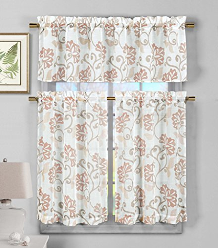 Premium Insulated 3 Piece Faux Linen Sheer Kitchen Window Curtain Tier & Valance Set Floral Vine Design - Assorted Colors | BLUSH/WHITE