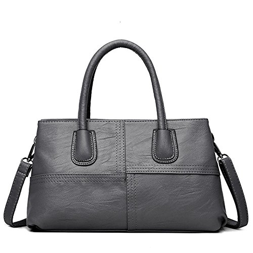 Cross Ladies Gray 34cmx10cmx20cm Single Stitching Size Handbag Shoulder Pu Fashion Penao Two story dRq4gW074