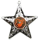"""MLB Baltimore Orioles Silver Star Ornament, Silver, 4"""""""