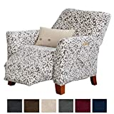 Great Bay Home Modern Velvet Plush Strapless Slipcover. Form Fit Stretch, Stylish Furniture Cover/Protector. Gale Collection Brand. (Recliner, Snowflake - Wild Dove Grey)