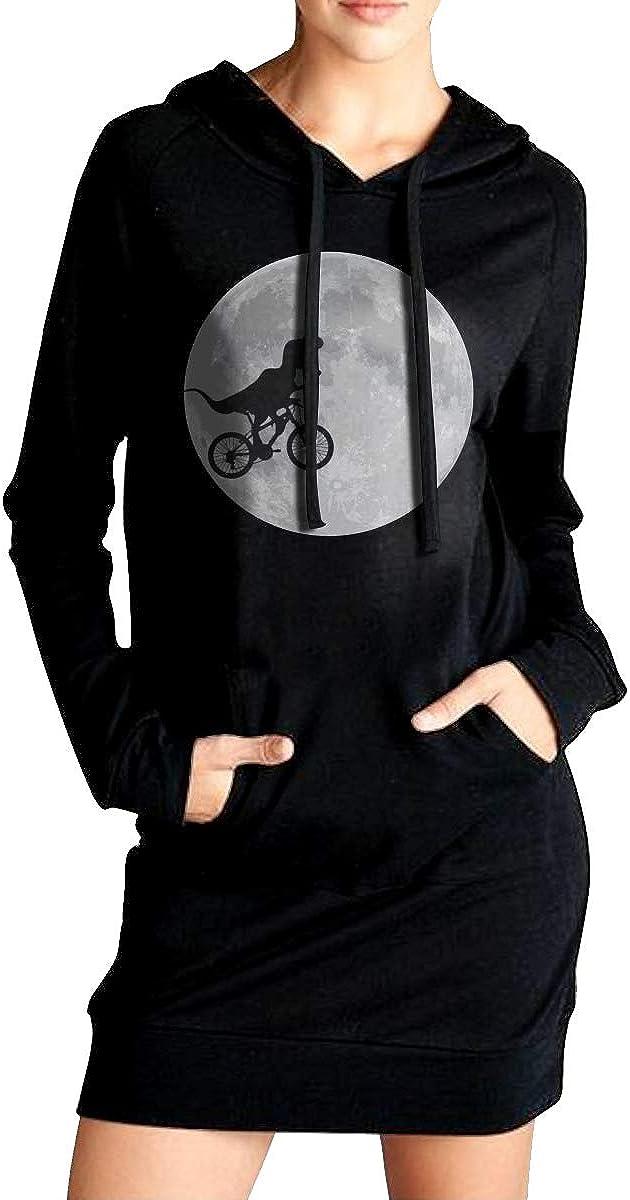 ADA/&KGH Womens Sports Sweatshirt Long Hoodie Dress Dinosaur Bike and Moon Coat with Kanga Pocket
