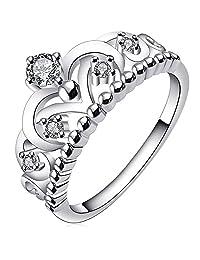 BODYA Jewelry Womens Ladies Silver Plated Cubic Zirconia CZ Princess Crown Tiara Ring Wedding Band Diamond Ring