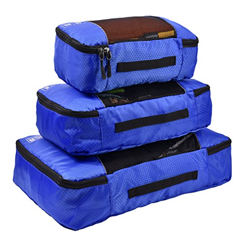 Hopsooken Packing Cubes System - 3 Pieces Sets Travel Luggage Packing Organizers (Lake Blue) (Cubes Piece 3 Large Packing)