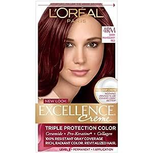 Amazon.com : L\'Oreal Paris Excellence Creme Hair Color, 4RM Dark ...