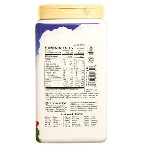 Sunwarrior Warrior Blend, Raw, Plant Based, Organic Protein, Vanilla, 30 servings