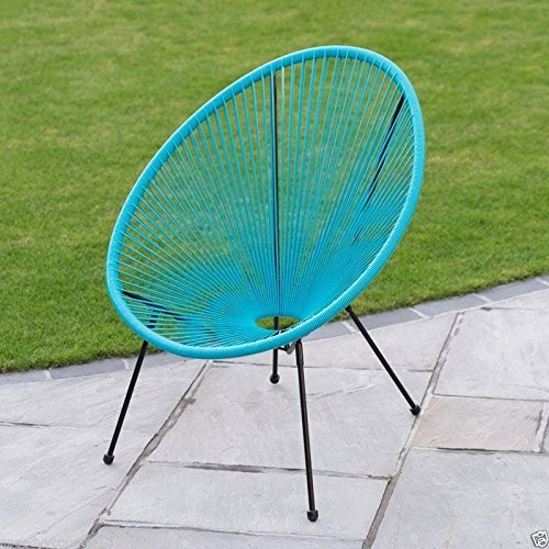 scotrade New Funky Modern Kids String Moon Chair with Steel tube frame legs Outdoor use- Blue