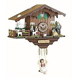Trenkle Black Forest Clock Swiss House with Turning Goats, no Cuckoo Call