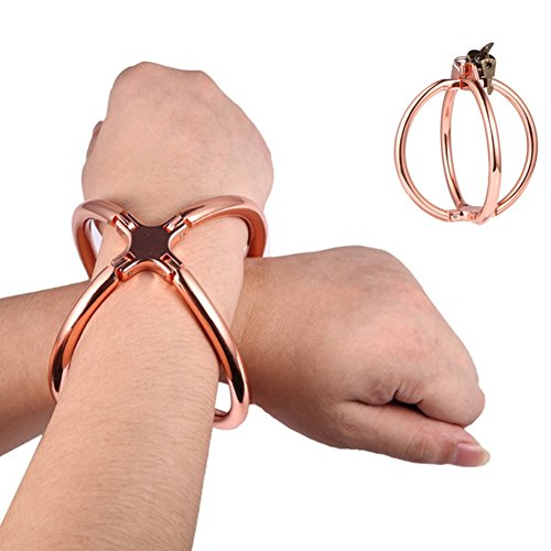 Yiwa Sex Game Tools Exquisite Metal Cross Handcuffs with Lock Wrist Cuffs Sex Bondage Toy Role Play Tool Novelty by Yiwa