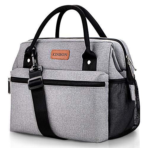 KINBON Lunch Bag Insulated Lunch Box for Women Men, Reusable Lunch Bag with Adjustable Shoulder Strap, Leak Proof Cooler Lunch Bag Water Resistant-Grey