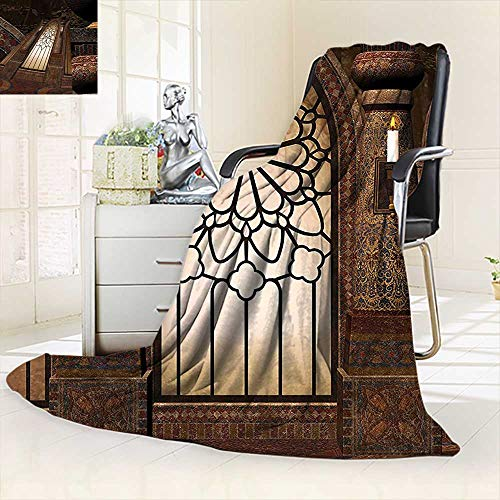 vanfan Soft Warm Cozy Throw Blanket Collection Illustration Antique Myst Gate Oriental Islamic Pattern Curvings Artistic,Silky Soft,Anti-Static,2 Ply Thick Blanket. (90''x70'') by vanfan