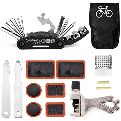 TARWAY Mini Bike Repair Tools Kits - 16 in 1 Bicycle Essential Multi Tools Set, Portable Bike Kit Repair Set, Bike Tool Bicycle Repair Kit Bicycle Tools Tire Patch Levers Bicycles (Bike Tools kit) ()