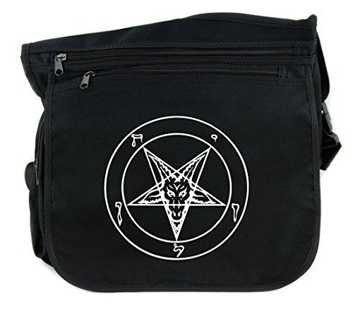 Classic Sabbatic Baphomet Pentagram Goat Head Messenger Bag Cross Body Handbag Occult Clothing