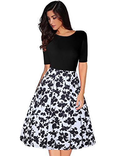 MISSJOY Floral Vintage Slim Patchwork Floral Black Fit Sleeve Pockets Dress and navy Flare with Swing Women's Half amp;white rSwHzrq