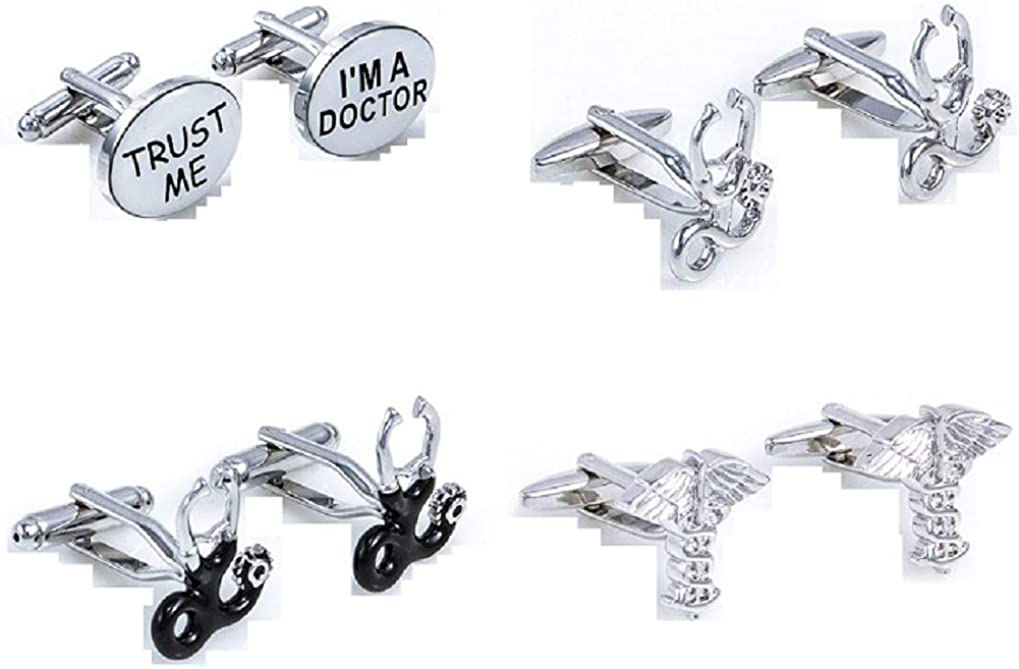 MRCUFF Doctor Dr Stethoscope Caduceus Asclepius MD 4 Pairs Cufflinks with a Presentation Gift Box