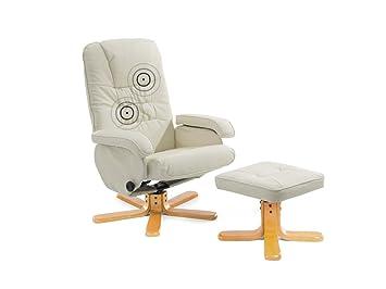 supply24 Leder Massagesessel Basel cremeweiss/beige TV Leder Sessel ...