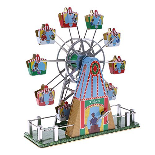 Dovewill Retro Wind up Spinning Ferris Wheel with Music Movement Clockwork Metal Tin Toy Collectible Gift