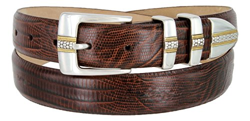 Italian Designer Brown Leather - Milan Italian Calfskin Leather Men's Designer Belt (34, Lizard Brown)