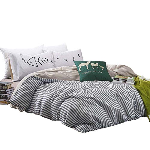 BuLuTu Vertical Stripe Print Pattern Design Cotton Twin Quilt Bedding Sets with 4 Corner Ties Black White Bedding Collections Zipper Closure for Boys Girls