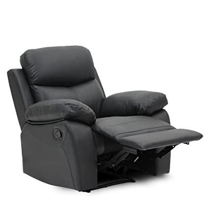 VH FURNITURE Sofa Recliner 1 Single Seat Top Grain Leather In Black