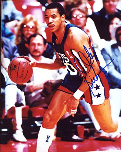 Otis Birdsong Autographed/ Original Signed 8x10 Color Photo Showing Him w/ the New Jersey Nets
