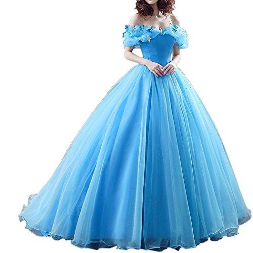Women Formal Cinderella Crystals Prom Quinceanera Dress Ball Gown Aqua Blue US -