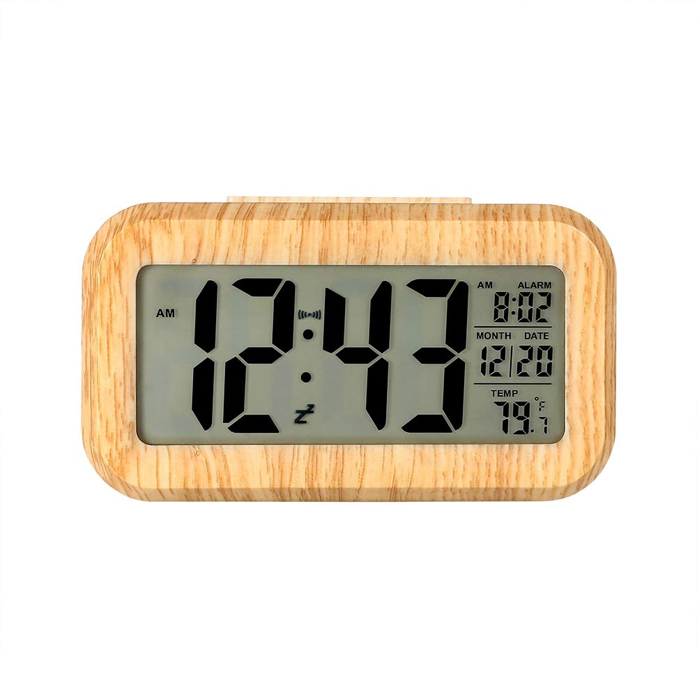 Digital Alarm Clock, Relime Upgraded LCD Display Travel Clock with Calendar Temperature Snooze Soft Nightlight Battery Operated Desk Clock for Home Office Kid Bedroom - Wooden Color
