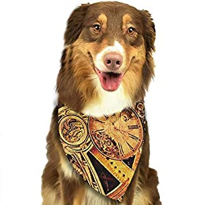 J.C Realm Cute Pet Dog Bandana Triangle Scarf Bibs Kerchief – Accessories for Dogs, Puppy, Cats – Small/Medium, Soft Polyester Bandanas – Cool Steampunk Gears