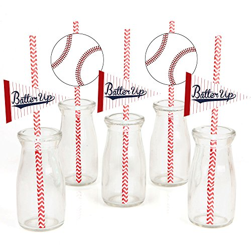 (Batter Up - Baseball Paper Straw Decor - Baby Shower or Birthday Party Striped Decorative Straws - Set of)