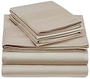 Pinzon 400-Thread-Count Pleated Hem Egyptian Cotton Sheet Set - Queen, Parchment