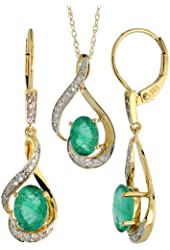 14k Gold Dangle Earrings (19mm tall) & 18 in. Pendant-Necklace Set, w/ 0.20 Carat Brilliant Cut Diamonds & 3.64 Carats Oval Cut (7x5mm) Emerald Stones