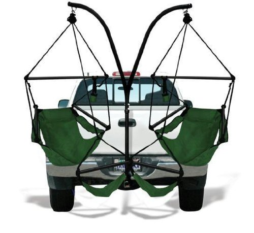 Trailer Hitch Stand and 2 Green Hammaka Chairs Combo - Alum