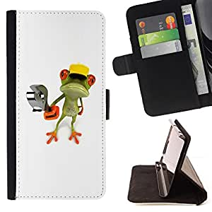 Construction Work Frog Wrench White - Painting Art Smile Face Style Design PU Leather Flip Stand Case Cover FOR Sony Xperia M2 @ The Smurfs