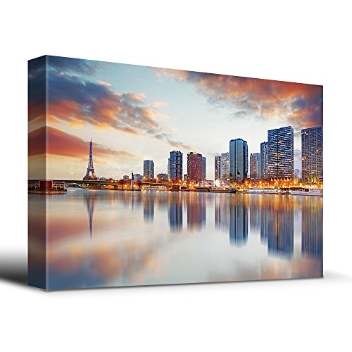 wall26 Paris sunset with the Eiffel Tower - Canvas Art Home Decor - 24x36 (Waterfront Art Set)