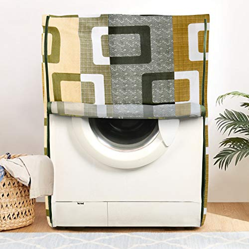 E-Retailer® Combo Set of Front Load Washing Machine Cover and Fridge Top Cover with 6 Pockets (Green, Set of 2 Pcs) India 2021