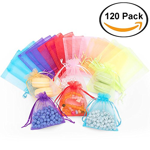 120pcs Organza Gift Candy Bags Color Jewelry Pouches Wrap Candy Drawstring Bag for Party Favor Baby Shower Birthday Wedding Christmas 4.6 x 3.9 Inch (Mini Sachet)