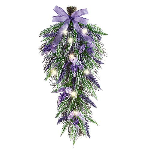 Lighted LED Lavender Swag with Bow - Sparkling Accent for Wall or Door
