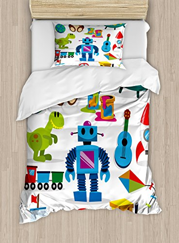Lunarable Nursery Duvet Cover Set Twin Size, Colorful Toys with Cartoon Art Style Robot and Dinosaur Ship Controller UFO, Decorative 2 Piece Bedding Set with 1 Pillow Sham, Multicolor