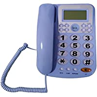 LeeKerTel Big Button Corded Phone for Elderly with Caller ID Speed Dial Alarm Function Landline Telephone for Seniors(P034Blue)