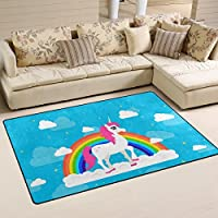 DEYYA Super Soft Modern Unicorn Area Rugs Living Room Carpet Bedroom Rug for Children Play Solid Home Decorator Floor Rug and Carpets 31 x 20 Inch
