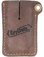 KeyUnity KA03 Leather Sheath EDC Pocket OrganizerHand Stitched Multitool Slip Pouch for KU00 Carabiner, Nail Clippers, Mini Flashlight, Mini Crowbars