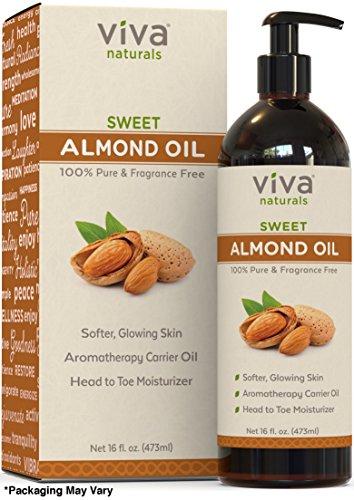 Viva Naturals Sweet Almond Oil, Hexane Free for Skin and Hair, 16 oz / 473 ml